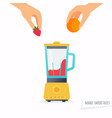 make a smoothie hand holding fruit flat design vector image