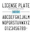 Modern License Plate font for registration numbers vector image