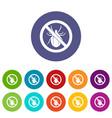 No bug sign set icons vector image