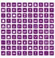 100 business icons set grunge purple vector image