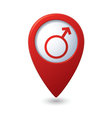 Map pointer with male symbol vector image vector image