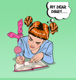 pop art girl in pink socks writing in diary vector image