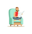 young bearded man sitting on a light blue armchair vector image vector image