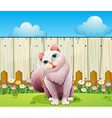 A big cat near the wooden fence vector image vector image