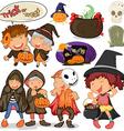Children dressing up for halloween vector image vector image