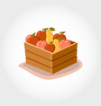 box with fresh fruits eco products vector image