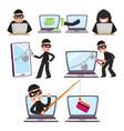 cartoon hackers using laptop stealing money vector image