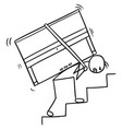 cartoon of a man carrying a piano up the stairs vector image