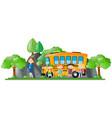 children and teacher standing by school bus vector image