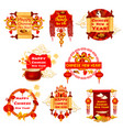 chinese new year traditional greeting icons vector image