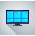 colorful channels curved screen tv vector image
