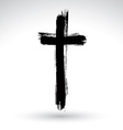 Hand drawn black grunge cross icon simple vector image