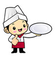 happy chef character is holding a plate isolated vector image
