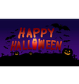 Happy Halloween image with pumpkin shadow bat vector image