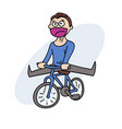 happy man with bycicle vector image