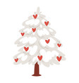 love tree christmas new year heart icons vector image