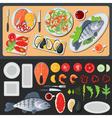 Sea Food Healthy Food Prepared Fish Vegetables vector image