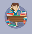 student sitting at the table with piles of books vector image