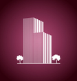 Buildings and trees over pink vector image vector image