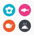 Chief hat cooking pan icons Fish and chicken vector image