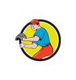 Baseball Player OutFielder Throwing Ball Circle vector image