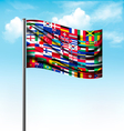 World flags on a big flag vector image