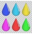 Set of transparent colored drops vector image