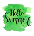 Hello summer lettering on green watercolor stroke vector image