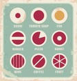 Retro set of food pictogram icons and symbols vector image