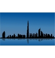 Silhouette of Dubai and reflections vector image