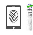 smartphone fingerprint icon with set vector image