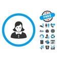 Woman Flat Icon with Bonus vector image