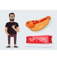 Hot dog and a man for the decoration of cafes vector image