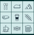 set of 9 meal icons includes fresh dining vector image