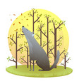 wild dog or wolf sitting alone howling in the vector image vector image
