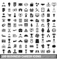 100 business career icons set simple style vector image vector image