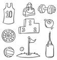 doodle of sport equipment vector image
