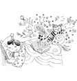 Child in bed dreaming fairy tales vector image