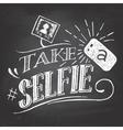 Take a selfie on blackboard vector image