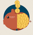 Piggy bank with coin over it Modern Flat design vector image