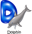 Cartoon of D Letter for Dolphin vector image