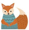 a cartoon portrait of a fox stylized happy fox in vector image