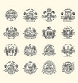 beer logo badges vintage craft old fashion vector image