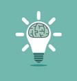 big human brain inside shining lightbulb vector image