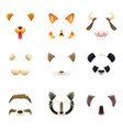 masks of funny animals ears and nose vector image