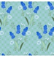 Seamless pattern with stylized cute blue muscari vector image