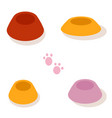 set of multi-colored bowls for pets isolated vector image