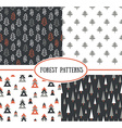 Set of seamless pattern with stylish Christmas vector image