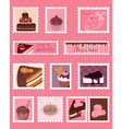 sweet postage stamps set vector image
