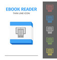 thin lined ebook reader vector image